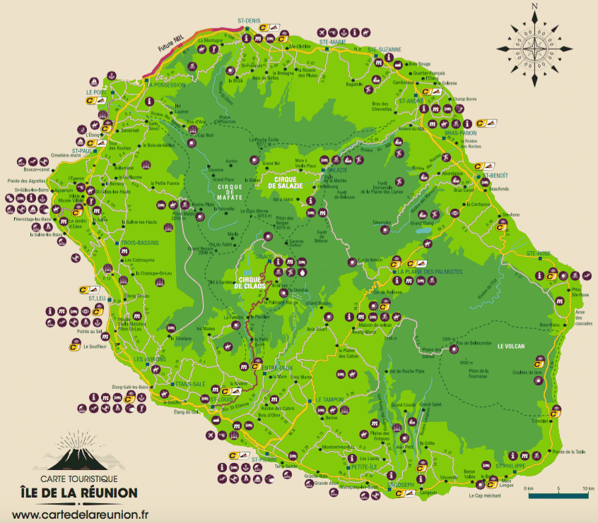 Carte routi re et touristique de la r union carte de la r union - Office du tourisme ile de la reunion ...