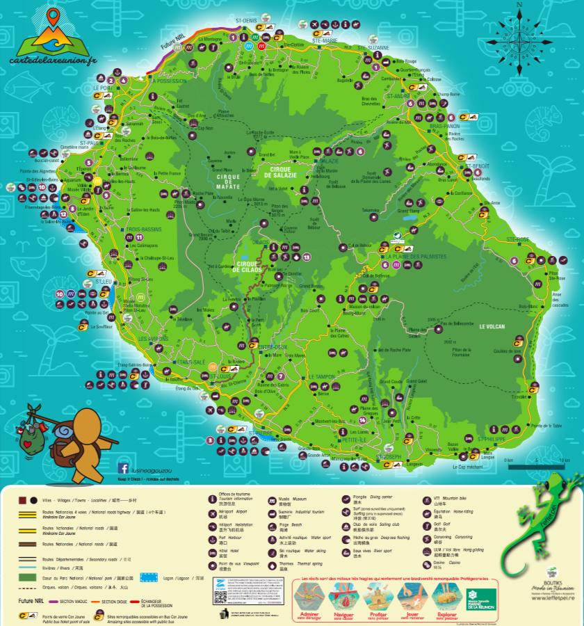 carte de la reunion détaillée Carte routière et touristique de La Réunion   Carte de La Réunion