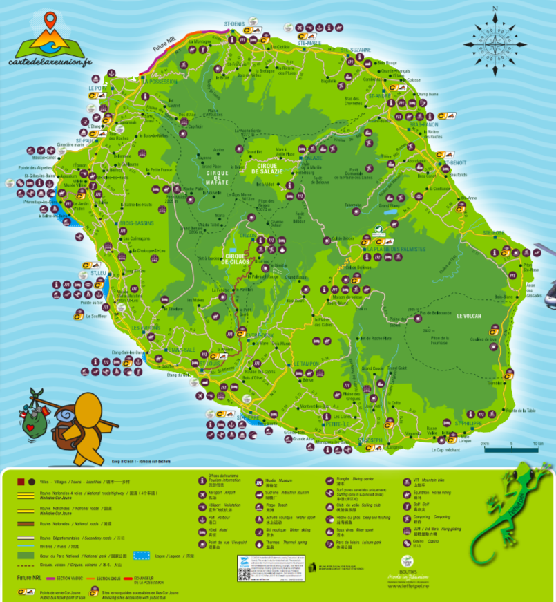 Carte De La Reunion Detaillee.Carte Routiere Et Touristique De La Reunion Carte De La