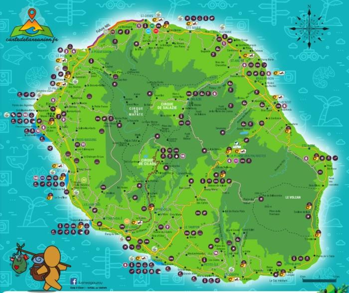 la réunion carte touristique Carte routière et touristique de La Réunion   Carte de La Réunion